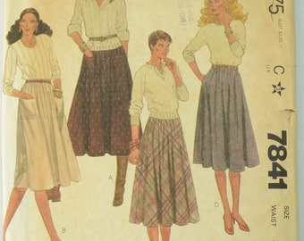 McCall's 7841 Pattern Misses' and Young Junior/Teen Skirts, Sewing Pattern, Size 14, Waist 28, UNCUT