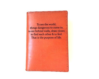 Leather Passport Cover Secret Life Of Walter Mitty Quote, Engraved Passport Holder, To See The World Passport Sleeve, Wallet, Boyfriend Gift