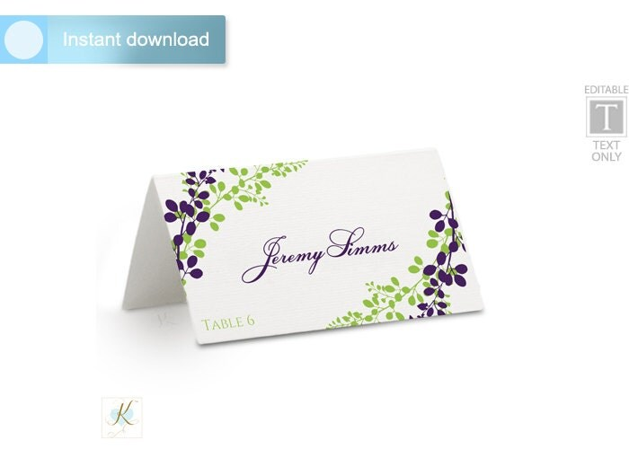 wedding place card template tent download by karmakweddings