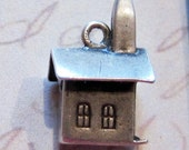Stanhope sterling charm, sterling silver church, miniature church, religious charm, lords prayer inside, illuminated window, country church