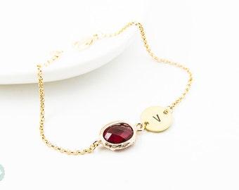 Birthstone bracelet, Initial bracelet, personalized bracelet, bridesmaid gift, gold initial bracelet, friendship bracelet, birthstone