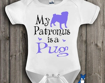 Cute Baby Clothes,Pug,My Patronus is a Pug,Pug shirt,Geekery baby,Baby bodysuit,Custom baby gift,by BlueFoxApparel_263_4