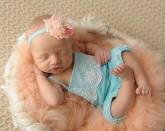 Newborn Girl Romper; Aqua Blue; Lace Romper; Newborn Outfit Prop; Newborn Romper Prop; Newborn Photo Prop