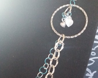 Silver and Blue Long Necklace with Hearts