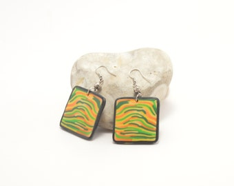 "Polymer clay earrings in yellow, orange and green ""Jungle"""