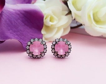 Pink Crystal Studs ~ Pink Black Earrings ~ Pink Opal Earrings ~ Pink Rhinestone Jewelry ~ Rose Quartz Earrings ~ Pastel Pink Earrings E3915