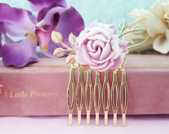 Purple Bridesmaid Hair Comb, Violet Bridesmaid Jewelry, Purple Flower Hair Decoration, Sage Green Leaf, Lavender Leaf, Lilac Wedding, H2054