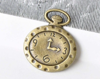 10 pcs of Antique Bronze Watch Clock Charms 27x32mm A8654