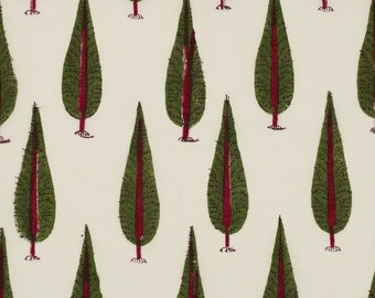 COTTON FABRIC 14 – Block printed with red trunk cypress tree motif