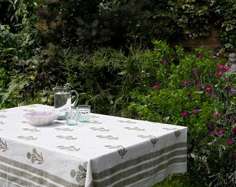 Block printed TABLECLOTH - Khaki Green flower pattern