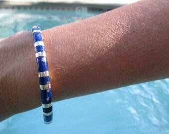 Lapis and Sterling Bangle Bracelet