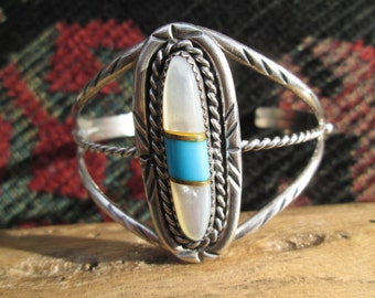 Native American Mother of Pearl, Turquoise and Sterling Bracelet