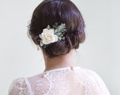 wedding hair clip, ivory flower clip, bridal hair clip, floral hair clip, rose hair clip, ivory flower hair clip, flower hair clip - CLAIRE