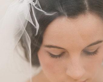 tulle birdcage veil, blusher veil, short veil, ivory birdcage veil, short wedding veil, mini veil - JULIA