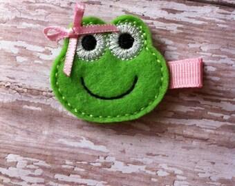 Frog Feltie - Girly Frog Hair Clips - Felt Hair Clips