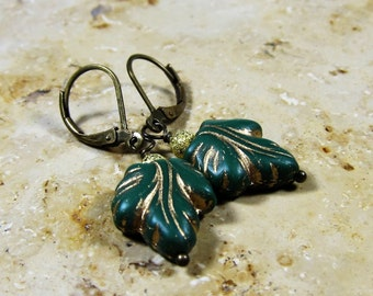 Czech glass beads leaves dark green earrings antique bronze