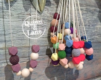 Silicone Teething Necklace CHOOSE COLOR - Bite Beads Nursing Necklace - Teether Chewing Beads - Chew Jewelry Beads  - Vintage Pretties