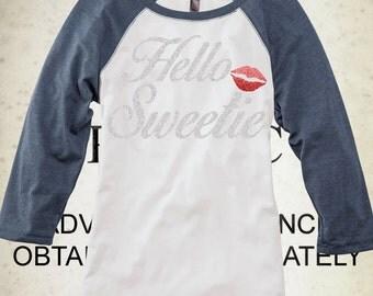 Hello Sweetie Glitter -Heathered Navy Raglan Shirt