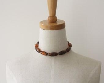 Tortoise necklace. Dark brown faux tortoiseshell necklace. Brown statement neck piece. Chocolate bold necklace. Tortoiseshell choker