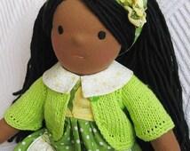 Waldorf doll 18'', Afro-american doll ,Waldorf inspired doll, fabric doll, cloth doll, soft doll
