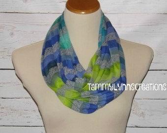 SALE Multi Stripe Greens, Blues, Dk Heather Gray Sweater Knit Stripe Infinity Scarf Women's Accessories