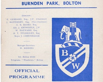 Vintage Football (soccer) Programme - Bolton Wanderers v Birmingham City, 1966/67 season