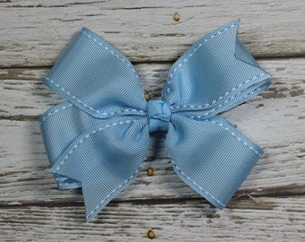 Light Blue Ribbon Boutique Pinwheel Bow on French Barrette
