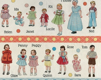 Retro Paper Doll Fabric, 1930s - A to Z Doll Family and Friends by American Jane for Moda Fabrics - 21700 11 Cream - Priced by the Panel