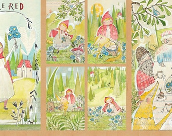 Kid's fabric, Quilt Panel, Cori Dantini, Red Riding Hood fabric - 112 109 01 1 - Priced by the 24-Inch Panel