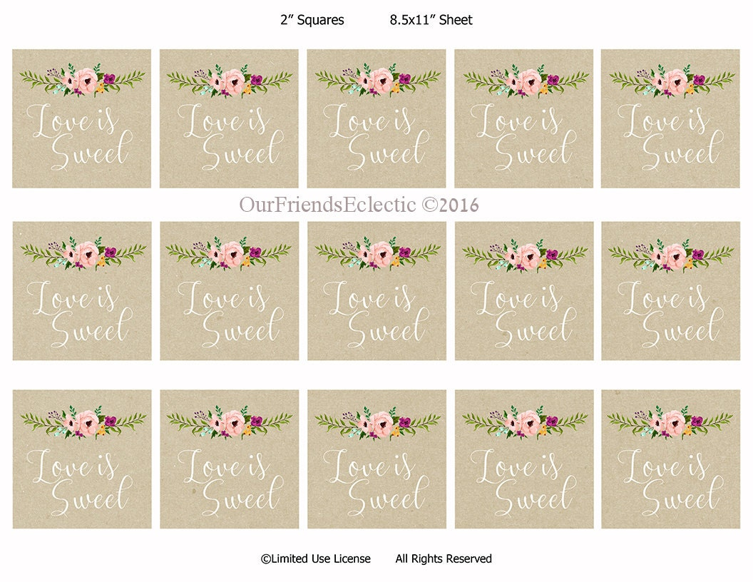 Printable Gift Tags Wedding: Love Is Sweet Tags Printable Wedding Favor Tags Love Is