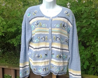 Vintage Cardigan Sweater, Womens Crochet Cardigan, Embroidered Floral Sweater, Light Blue Buttoned Sweater, Womens Size Large - Petite