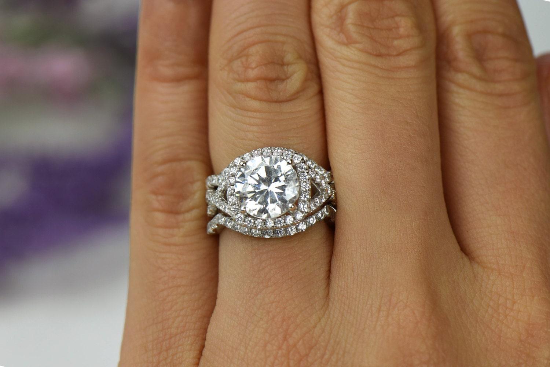 ctw 3 band twisted halo wedding set engagement ring. Black Bedroom Furniture Sets. Home Design Ideas