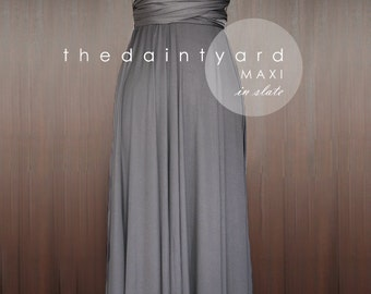 MAXI Slate Bridesmaid Dress Convertible Dress Infinity Dress Multiway Dress Wrap Dress Prom Dress Full Length Dress Wedding Dress Cocktail