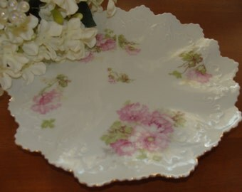 Wheelock Vienna Austria China Lunch Plate Pink Roses Ruffled Gold Rim