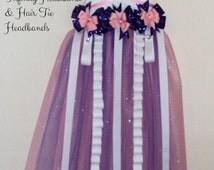 White Minky Tutu Hair Bow Holder Purple and Pink Accents