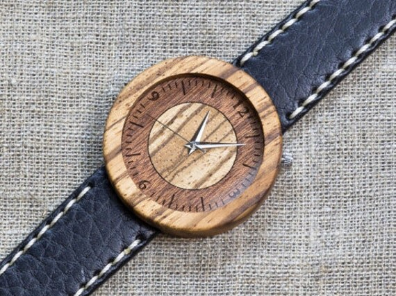 African Zebrano minimal wood watch , Majestic Watch, Black and White Genuine Leather strap + Any Engraving / Gift Box. Anniversary  gift