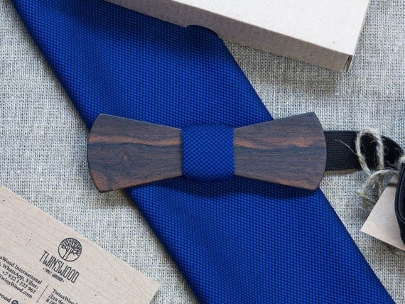 Ziricote Wood bowtie  +color pocket square Any personal engraving wooden bow ties. Men Accessories. 100% hand made. Best xmas / bday gift.