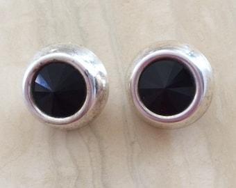 Black-Silver Earrings, Clip-on Earrings, Vintage Earrings, Black on Silver, Custom Jewelry