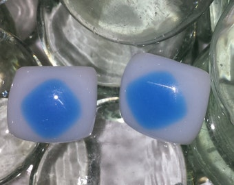 Earrings, Stud Blue and White Fused Glass