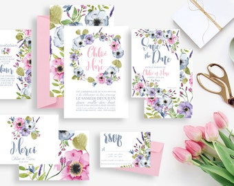Printable wedding stationery kit: wedding invitation + rsvp, save the date, diner invitation, thank you card - Flowers Countryside Romantic