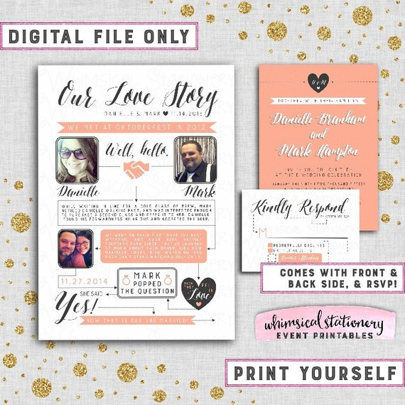 Wedding Invite & RSVP Card Infographic Coral