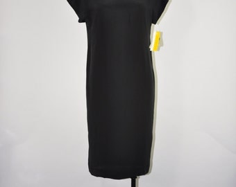 90s minimalist dress / short sleeve silk dress / black silk short caftan