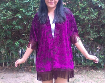 Poncho with sleeves,Semi sheer, purple velvet,swimsuit cover,fringed,one size, Free US shipping