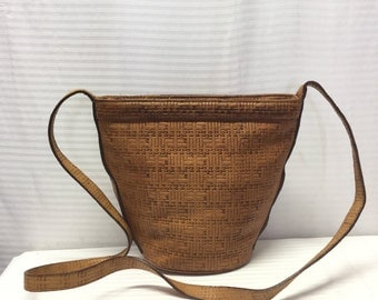 Phillippe, Leather, Bucket Bag, Leather Purse, bag, Brown, Shoulder Bag, Free US shipping