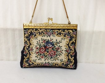 Tapestry bag,Vintage, Rose Tapestry Purse, Hong Kong, Handbag,Free shipping in the US