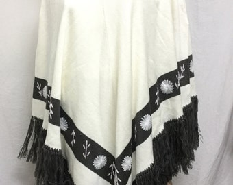 Knit poncho,poncho top,embroidered poncho, fringed,Large-XL, Off white,gray,Free shipping
