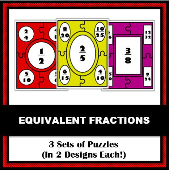 Equivalent Fractions Puzzles - Set of 3 Math Puzzles