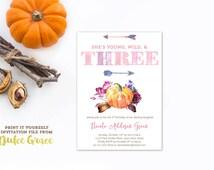 3rd birthday invitations with pumpkins, wild and three invites, boho birthday party, feathers arrows invites, pink purple pumpkin, PRINTABLE