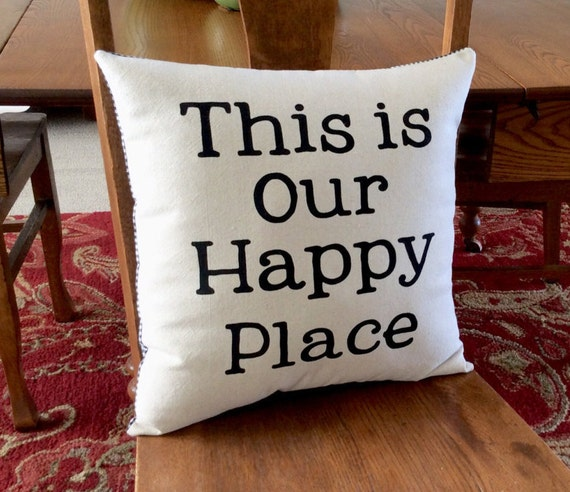 This is our happy place burlap decorative pillow