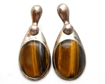 Tiger's Eye Earrings, Sterling Silver, Oval Brown Gemstones,Vintage Earrings,Pierced Earrings,Dangle Earrings,925 Jewelry